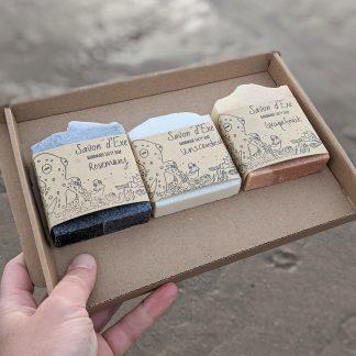 A box of three cuboid soaps.